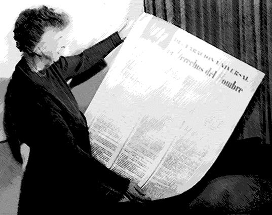 Eleanor Roosevelt contempla la Declaración Universal de los Derechos Humanos, versión español