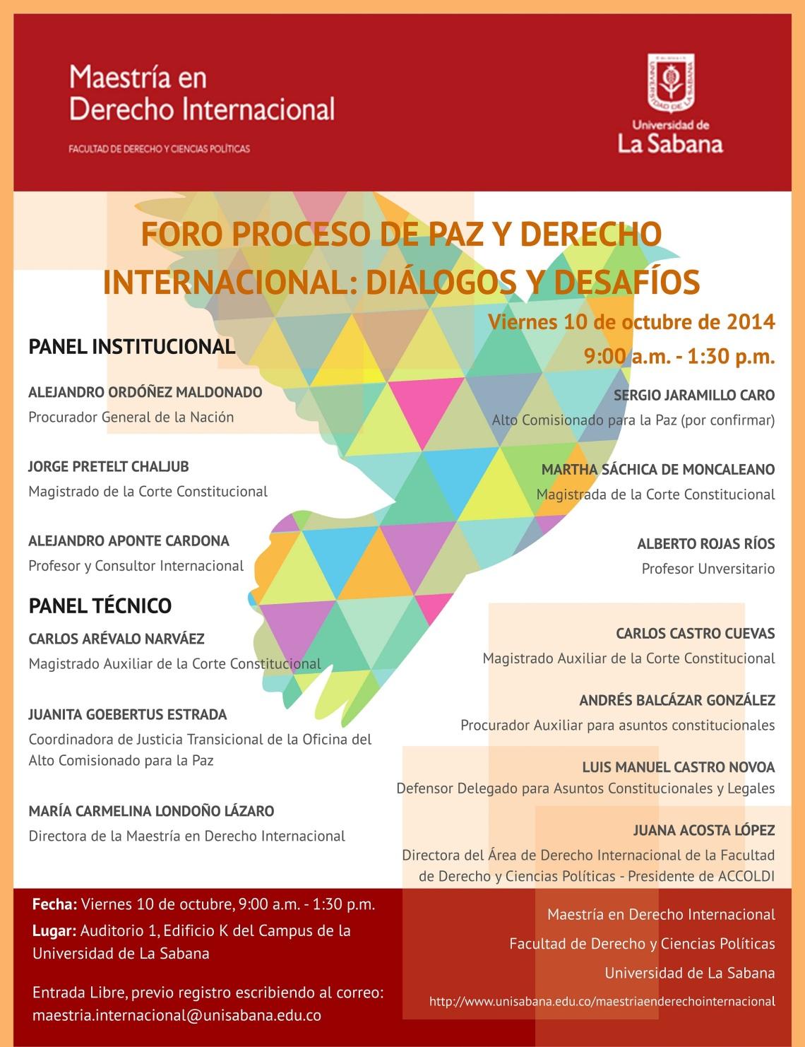 Afiche Foro 10 Octubre Proceso de Paz y Derecho Internacional- Dialogos