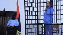 Imagen del juicio a Saif Al-Islam Gaddafi, en el cual fue condenado a muerte por un tribunal libio en 2015. En julio de 2016 se conoció que fue liberado.